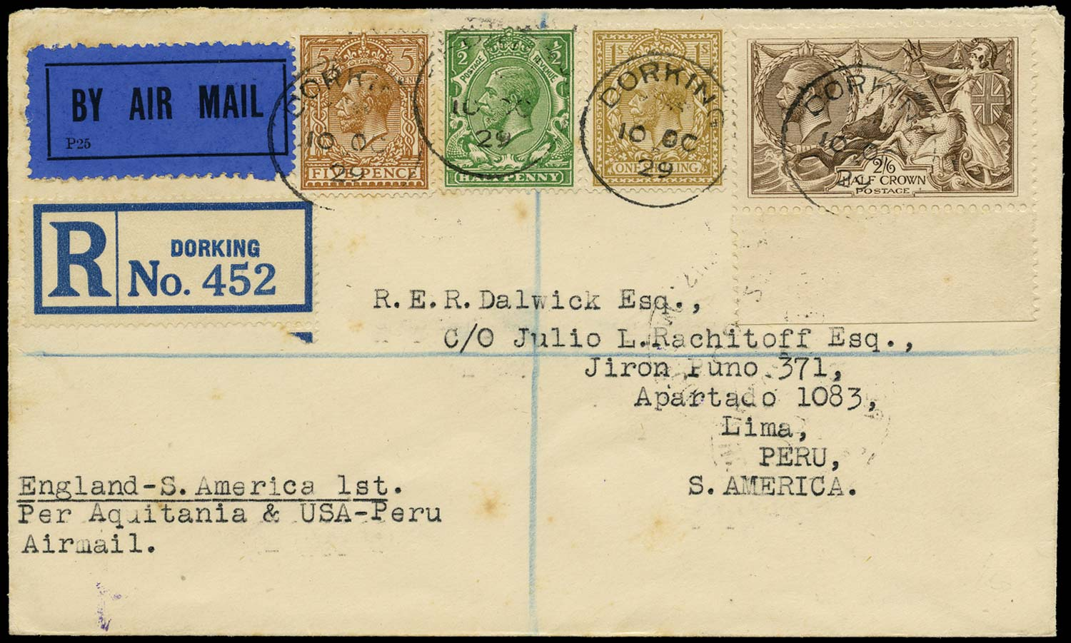 GB 1929  SG415a,418,425,429 Cover - Registered Air Mail to Peru