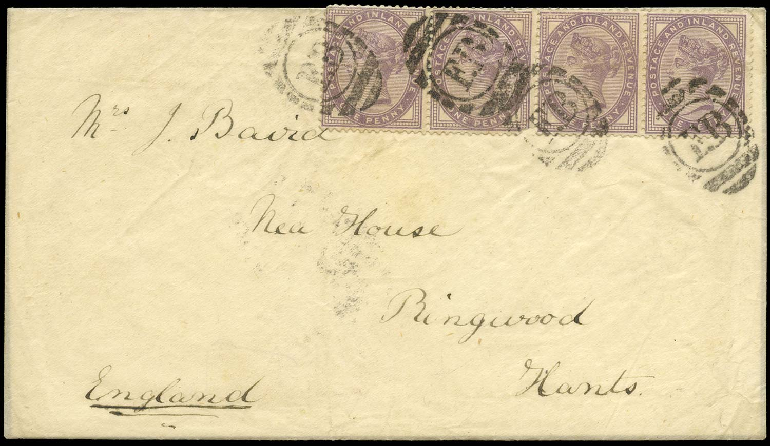 GB 1885  SG172 Cover Coquimbo, Chile to Ringwood
