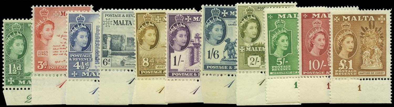 MALTA 1956  SG269, 272/82 Mint