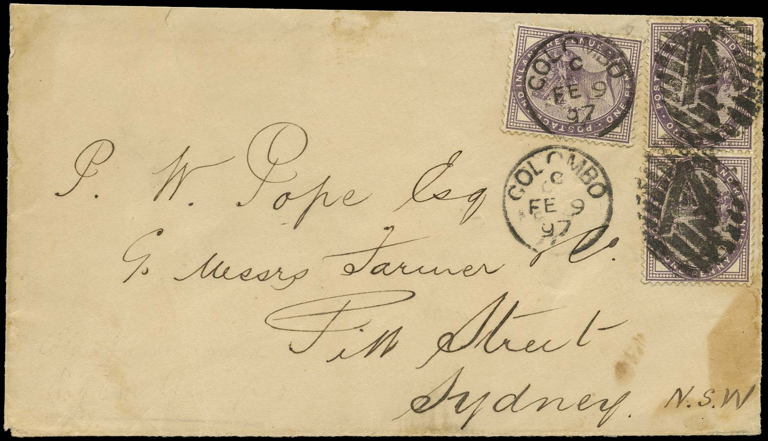 GB 1897  SG172 Cover Colombo, Ceylon to Sydney, Aus