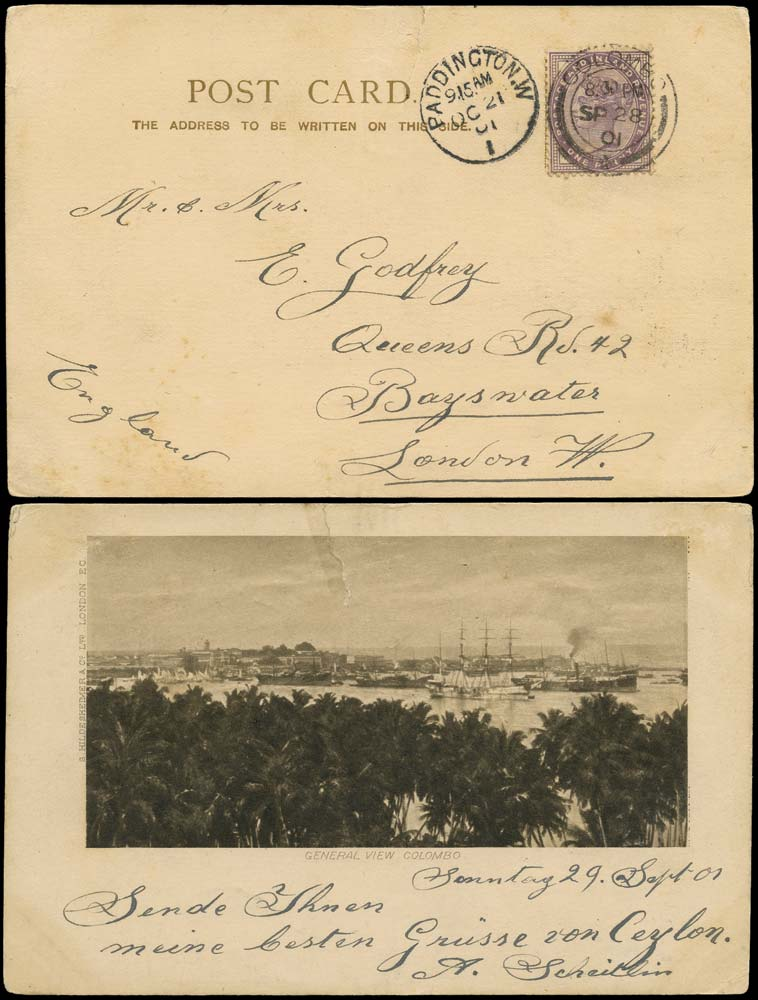 GB 1901  SG172 Cover Colombo, Ceylon to Bayswater, London