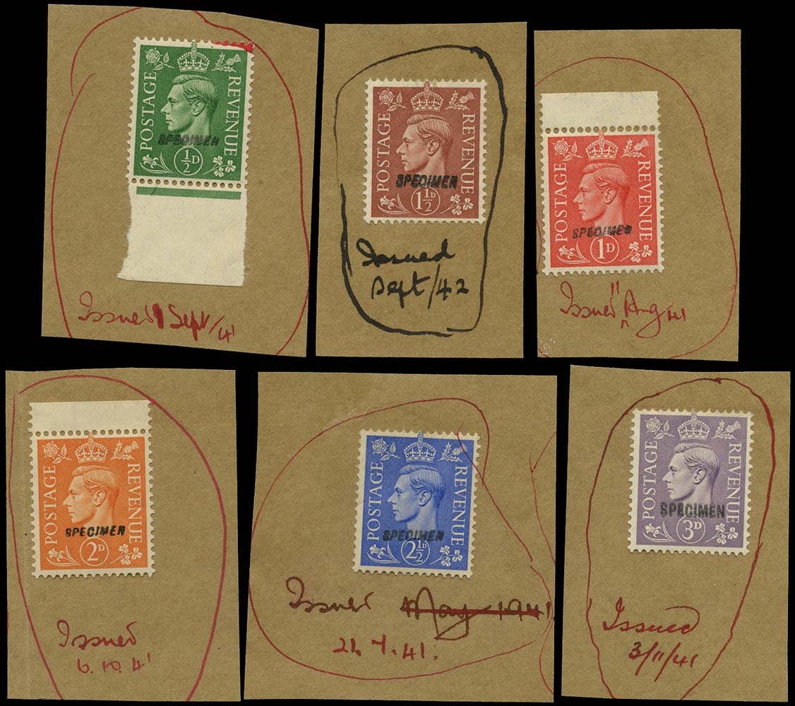 GB 1941  SG485/90s Specimen set of six on printers record paper