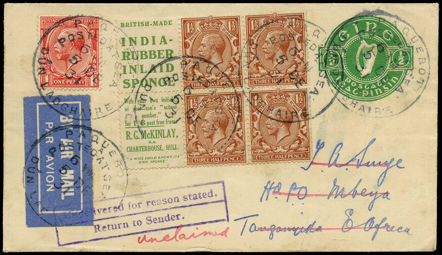 GB 1924  SG420d Booklet pane on cover to Uganda