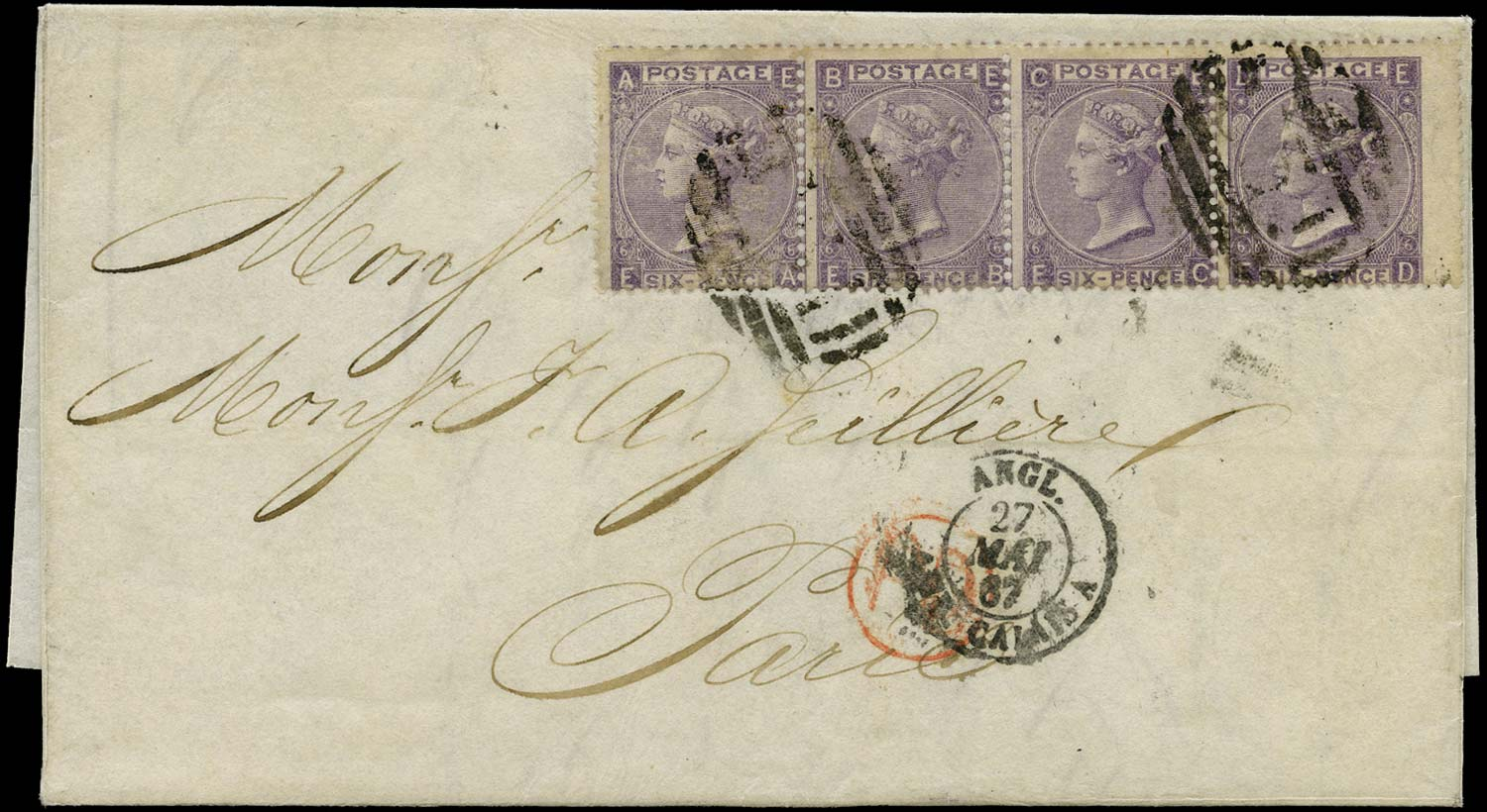 GB 1867  SG97 Pl.6 Cover from St. Thomas DWI