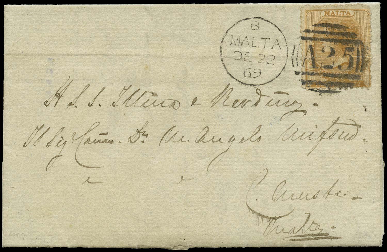 MALTA 1869  SG14 Cover