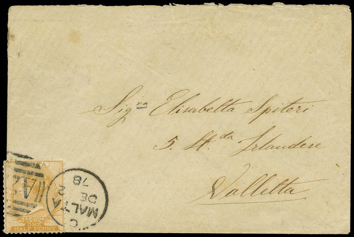 MALTA 1878  SG16 Cover