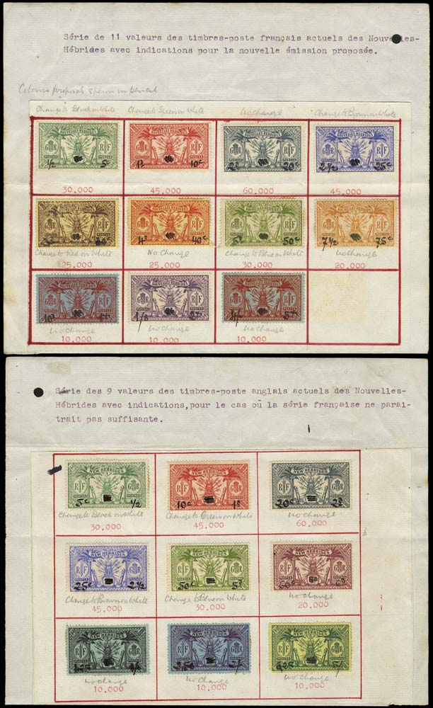 NEW HEBRIDES 1925  SG43/51 Proof dual currency essays