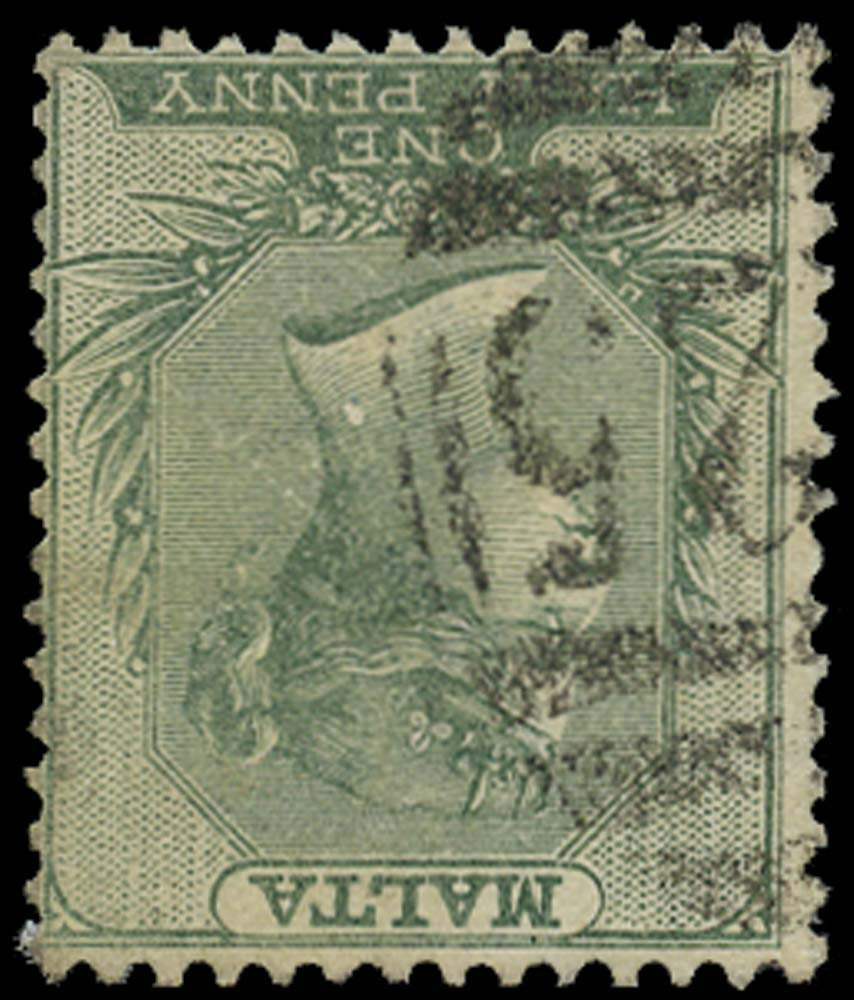 MALTA 1885  SG20w Used ½d green watermark inverted
