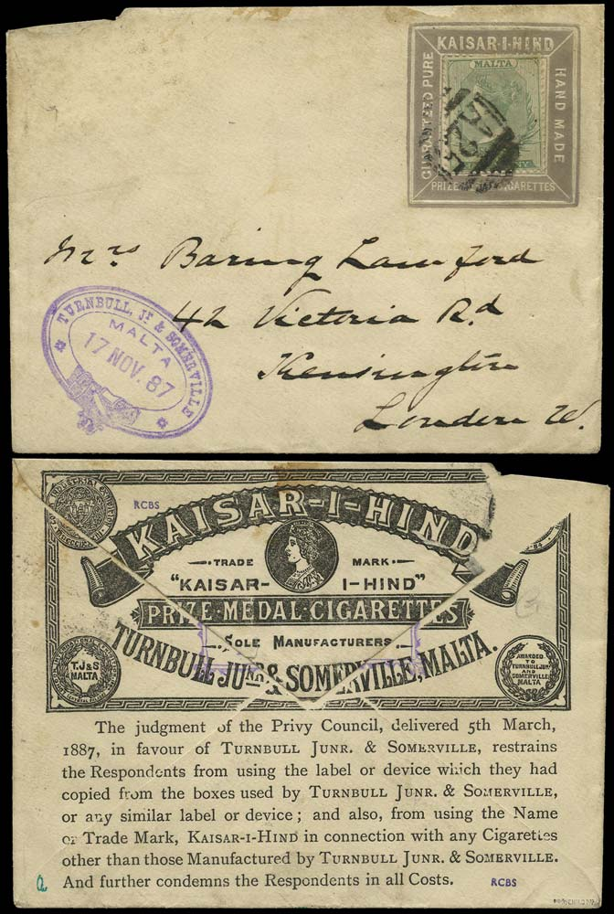 MALTA 1887  SG20 Cover KAISAR-I-HIND advertising collar