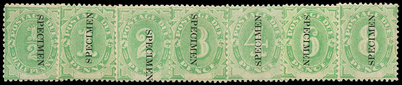 AUSTRALIA 1902  SGD1s/7s Specimen set of 7 to 8d type I opt of Tasmania