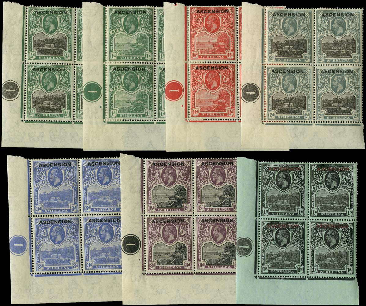 ASCENSION 1922  SG1/6, 9 Mint set to 1s in plate blocks