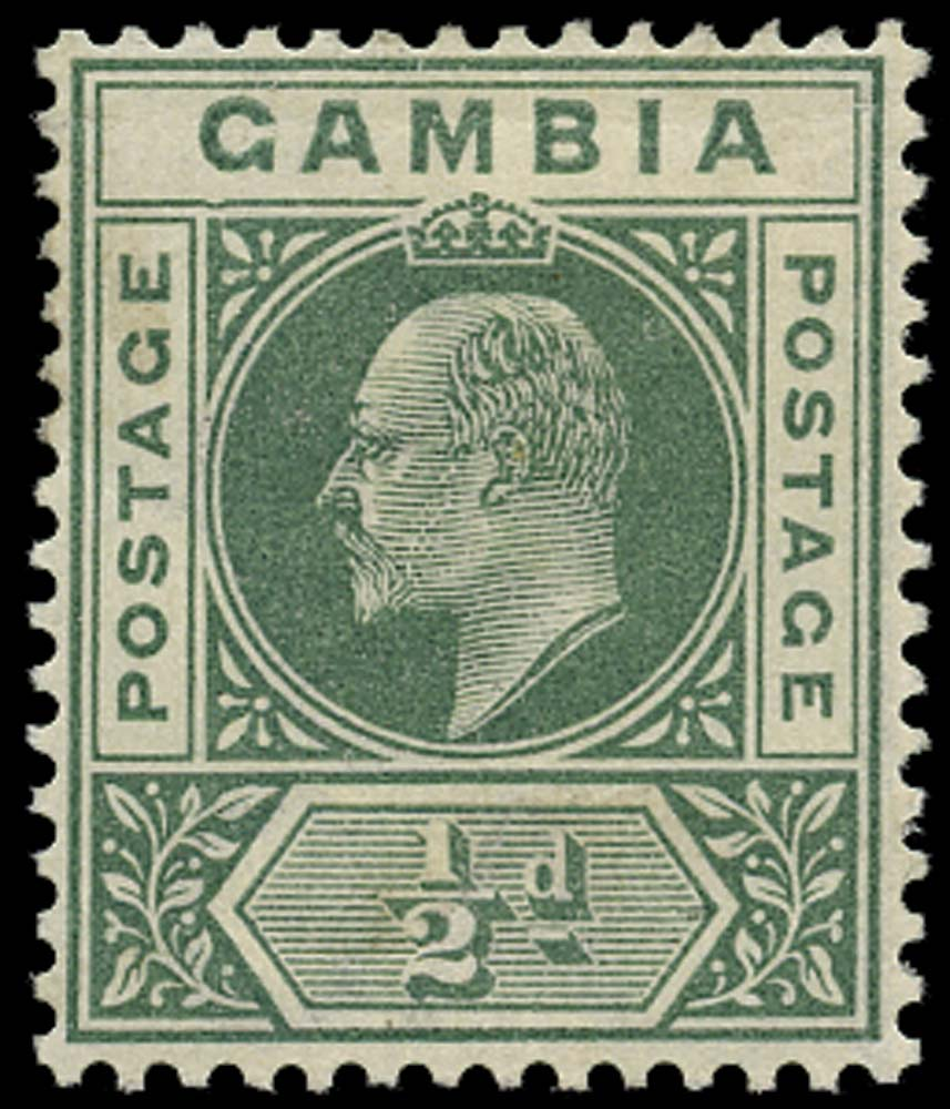 GAMBIA 1902  SG45a Mint ½d green Dented Frame