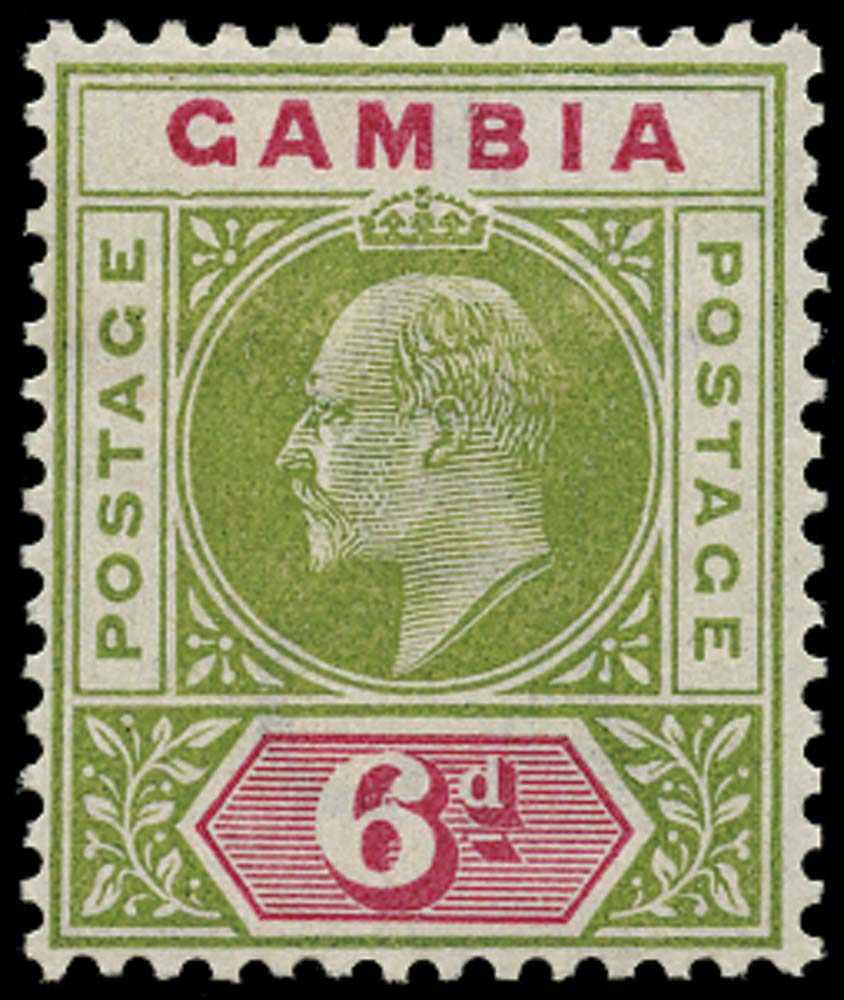 GAMBIA 1902  SG51a Mint 6d pale sage-green and carmine Dented Frame