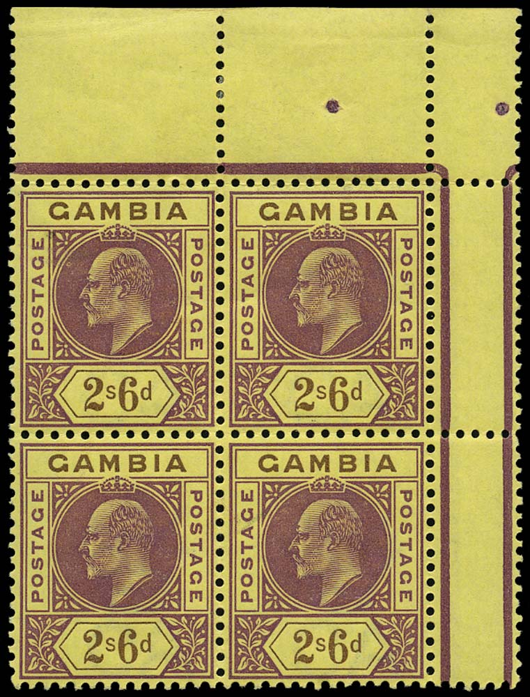 GAMBIA 1902  SG55a Mint 2s6d purple and brown/yellow Dented Frame