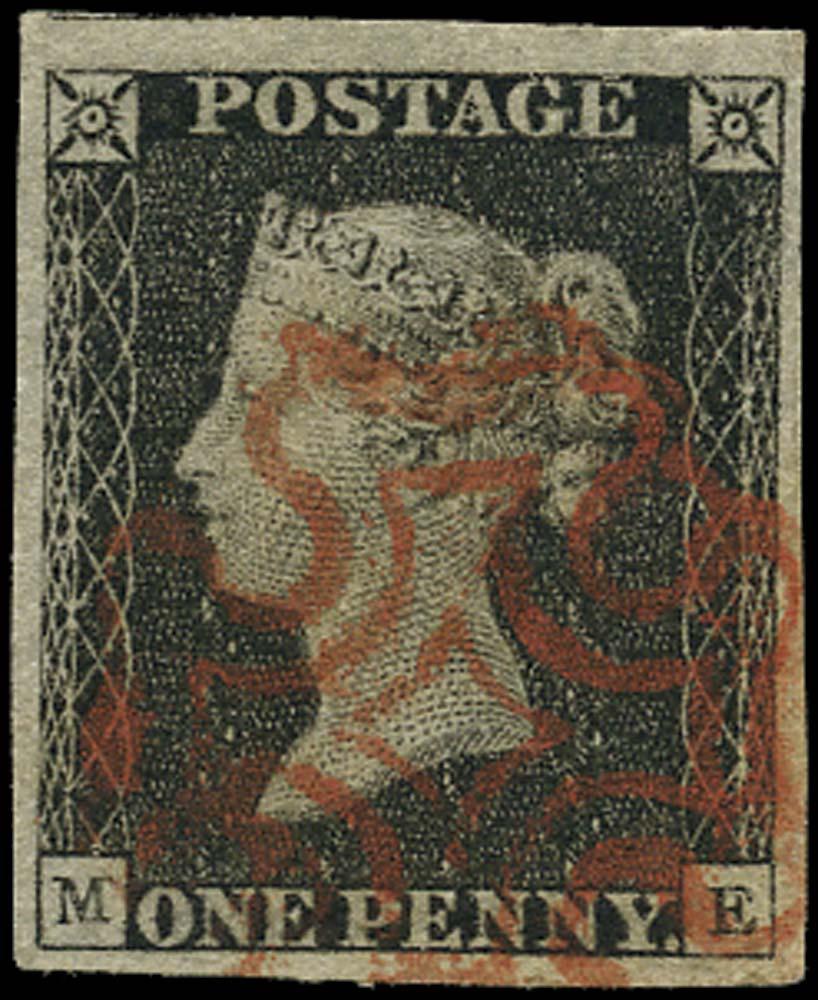 GB 1840  SG3 Pl.2 Penny Black VFU example, red MC (ME)