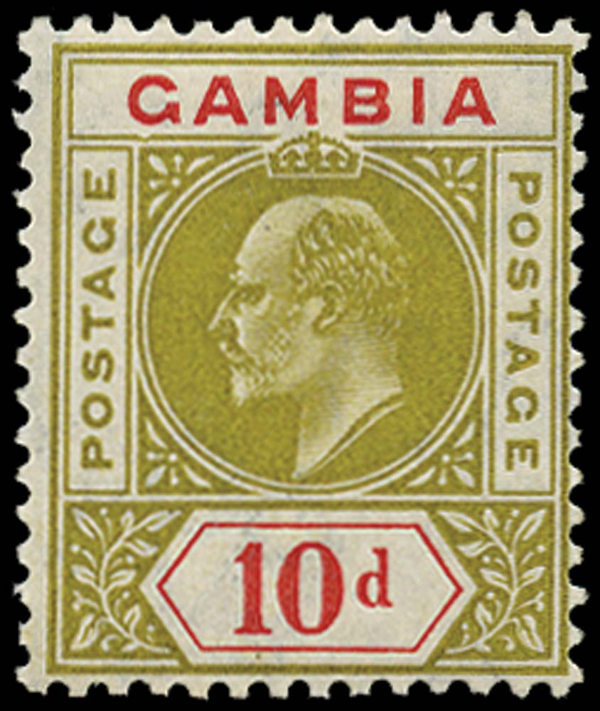 GAMBIA 1904  SG66a Mint 10d olive and carmine Dented Frame