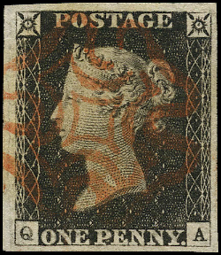 GB 1840  SG2 Pl.2 Penny Black VFU example, red MC (QA)