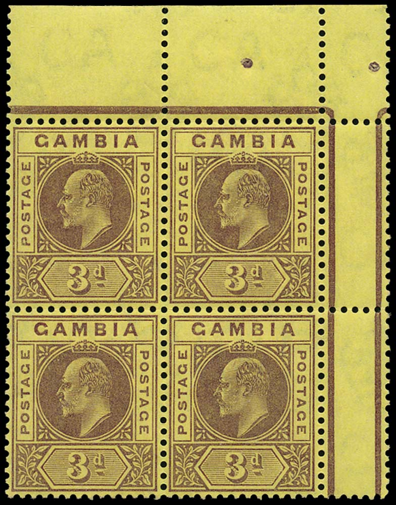 GAMBIA 1909  SG75b Mint 3d purple on yellow Dented Frame unmounted