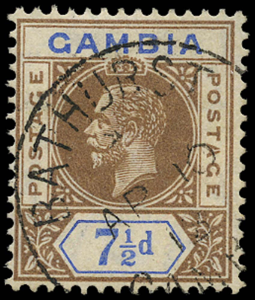 GAMBIA 1912  SG95a Used 7½d brown and blue Split A