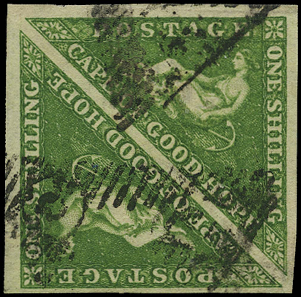 CAPE OF GOOD HOPE 1855  SG8 Used 1s bright yellow-green square pair