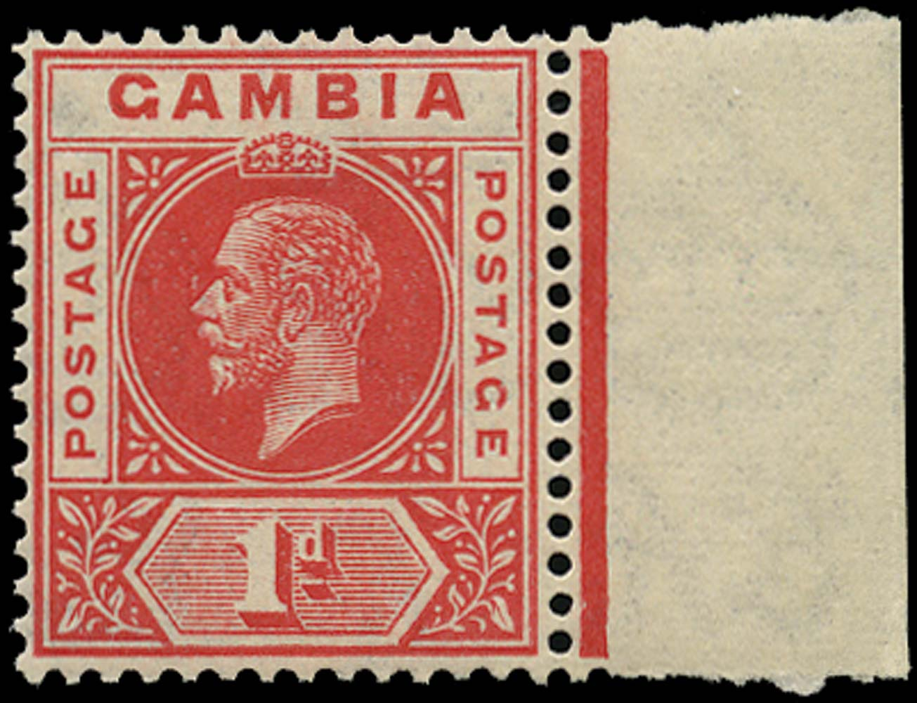 GAMBIA 1921  SG109x Mint 1d carmine-red watermark reversed unmounted