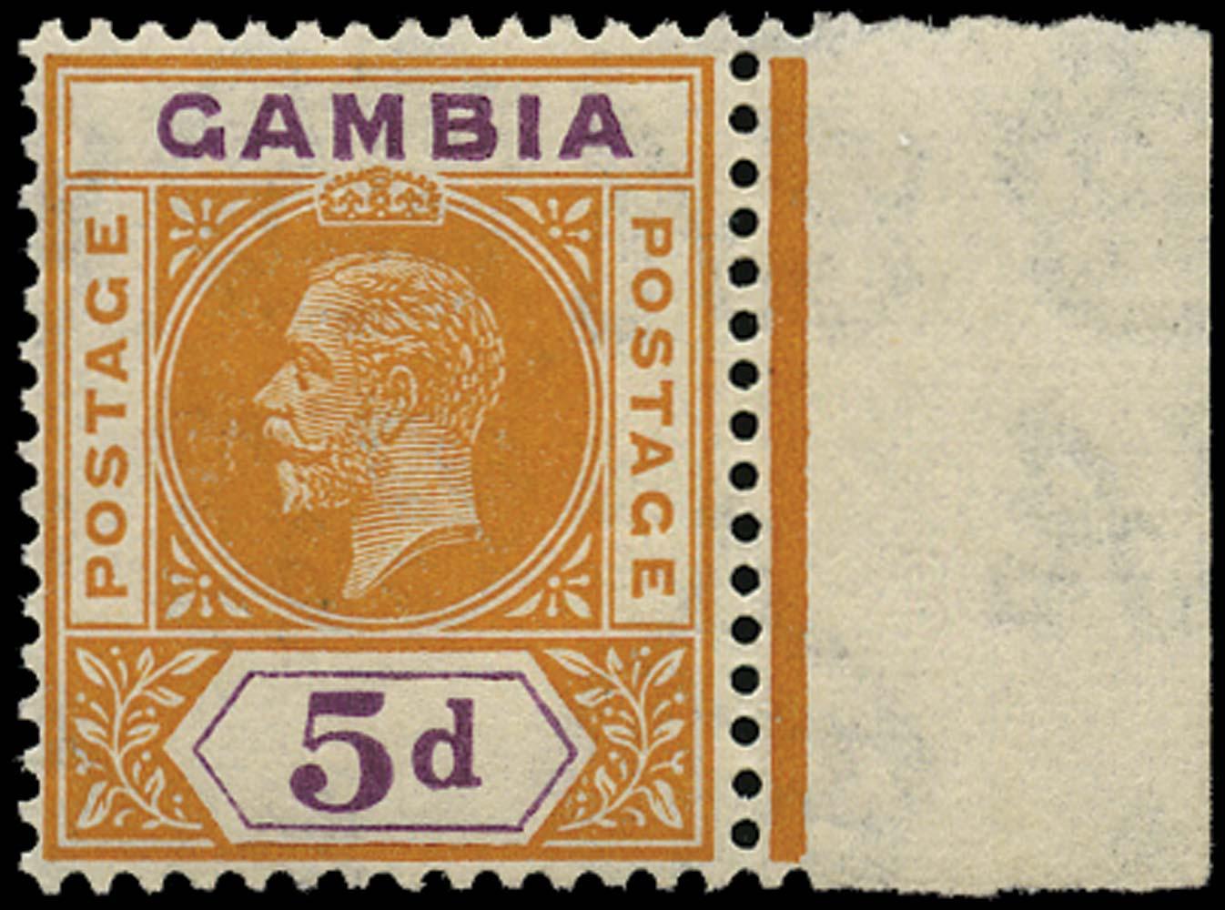 GAMBIA 1921  SG113x Mint 5d purple and orange watermark reversed