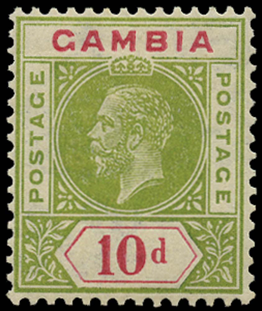 GAMBIA 1921  SG116x Mint 10d pale sage-green and carmine watermark reversed