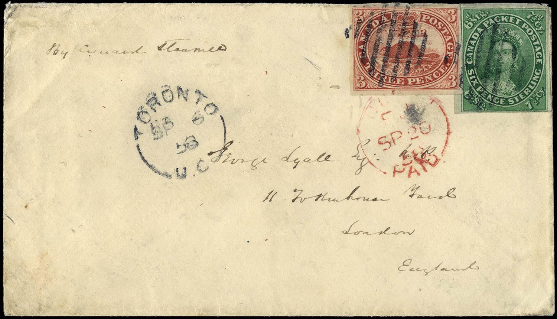 CANADA 1859  SG5, 12 Cover Unique Transatlantic franking
