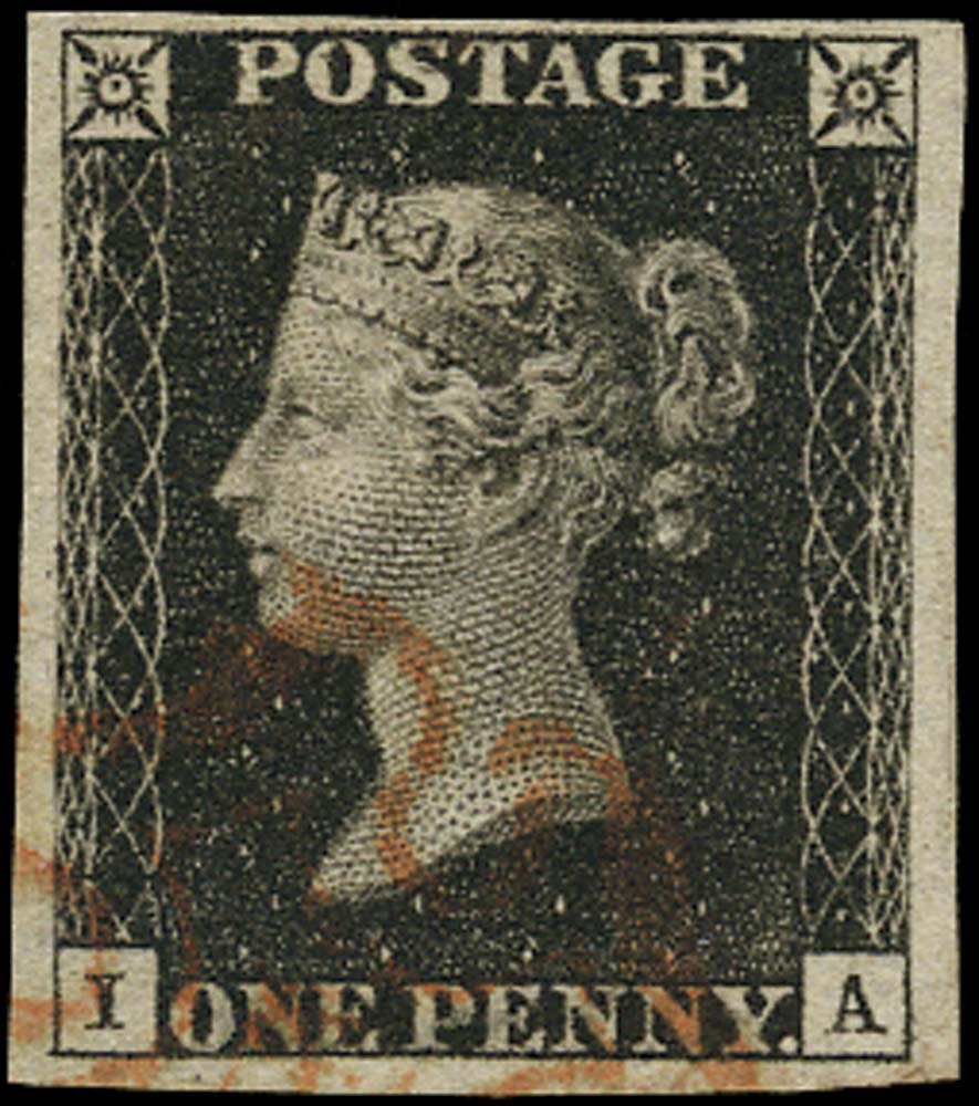 GB 1840  SG2 Pl.7 Penny Black VFU example, red MC (IA)