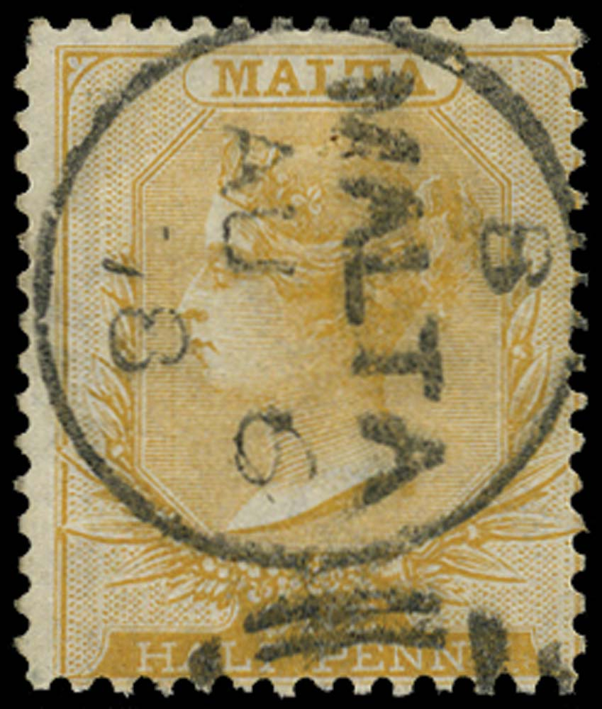 MALTA 1863  SG11 Used ½d pale buff from 18th printing