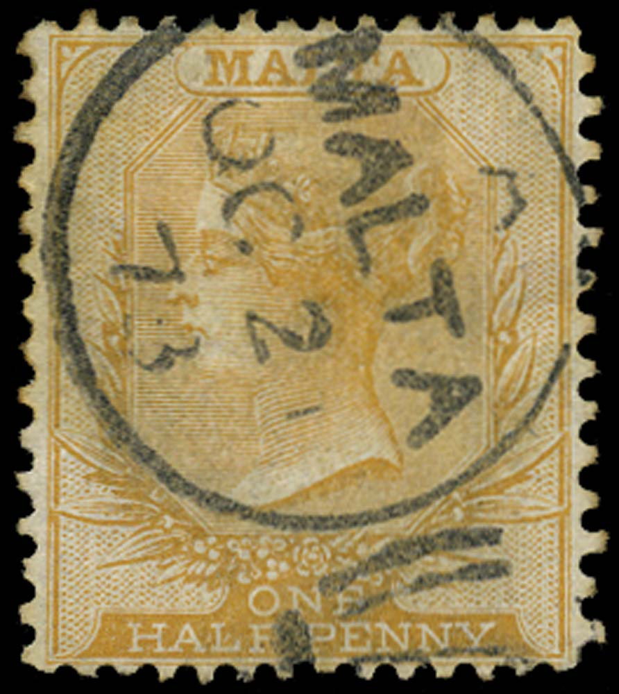 MALTA 1863  SG16 Used ½d yellow-buff from 20th printing