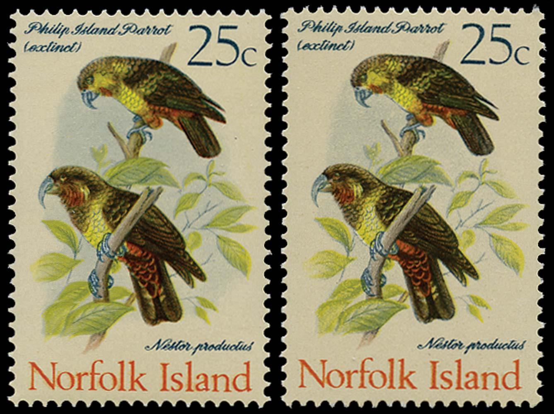 NORFOLK ISLAND 1970  SG113a Mint 25c Parrots on GLAZED paper