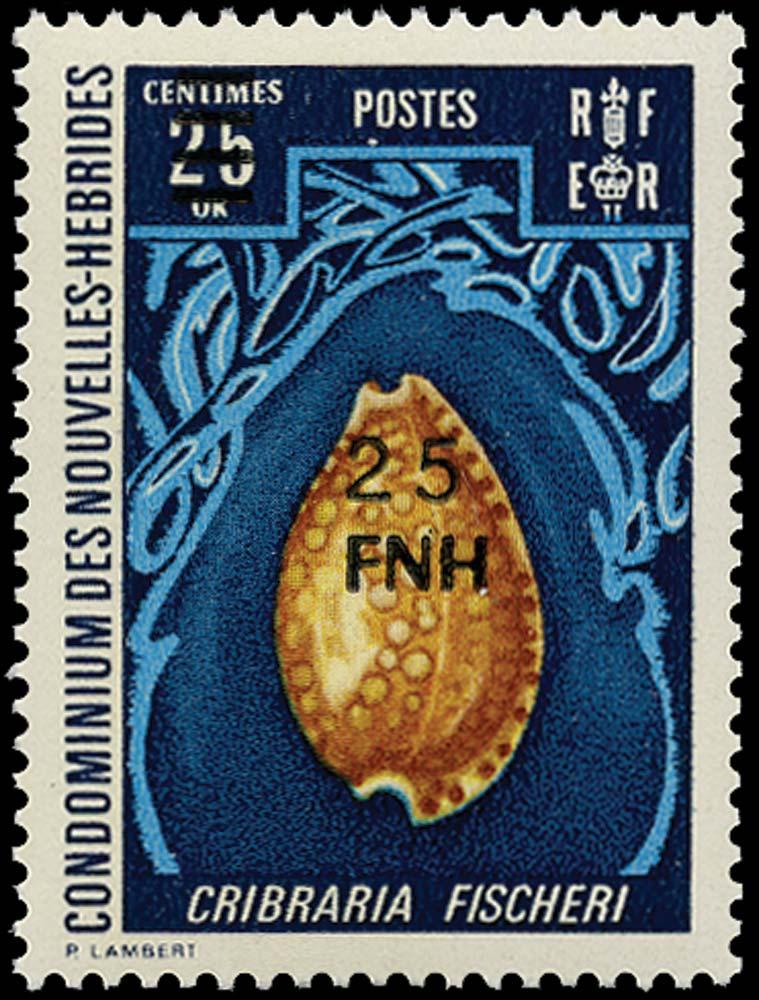 NEW HEBRIDES 1977  SGF250 Mint Port Vila 25f on 25c Cowrie shell