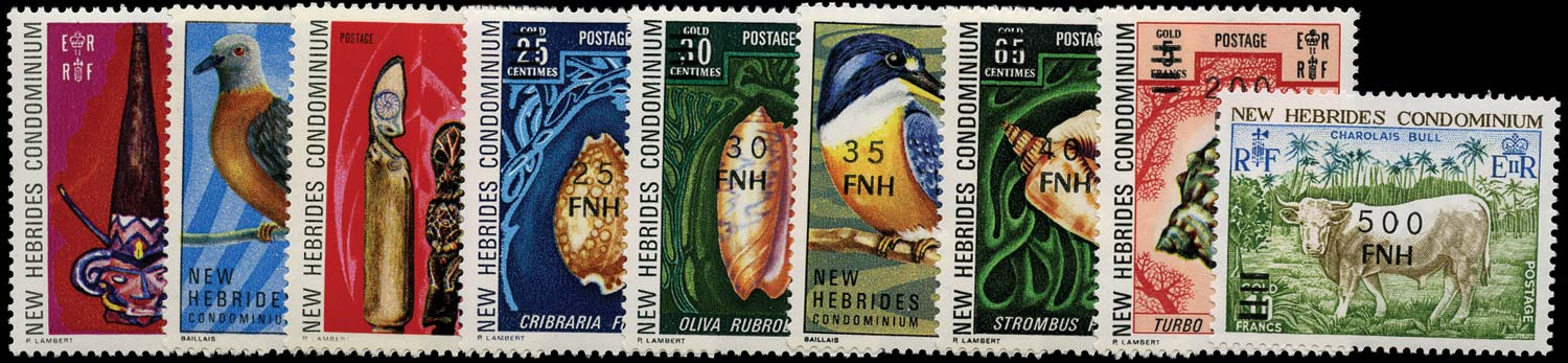 NEW HEBRIDES 1977  SG233/41 Mint local Port Vila surcharge set of 9