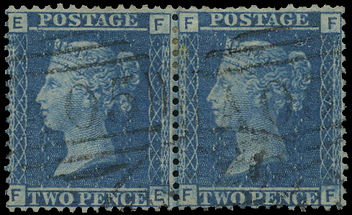 BAHAMAS 1858  SGZ2 Cancel Great Britain 2d blue plate 7 with A05