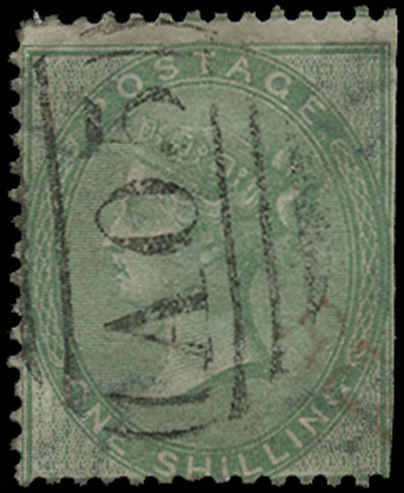 BAHAMAS 1858  SGZ5 Cancel Great Britain 1s green with A05