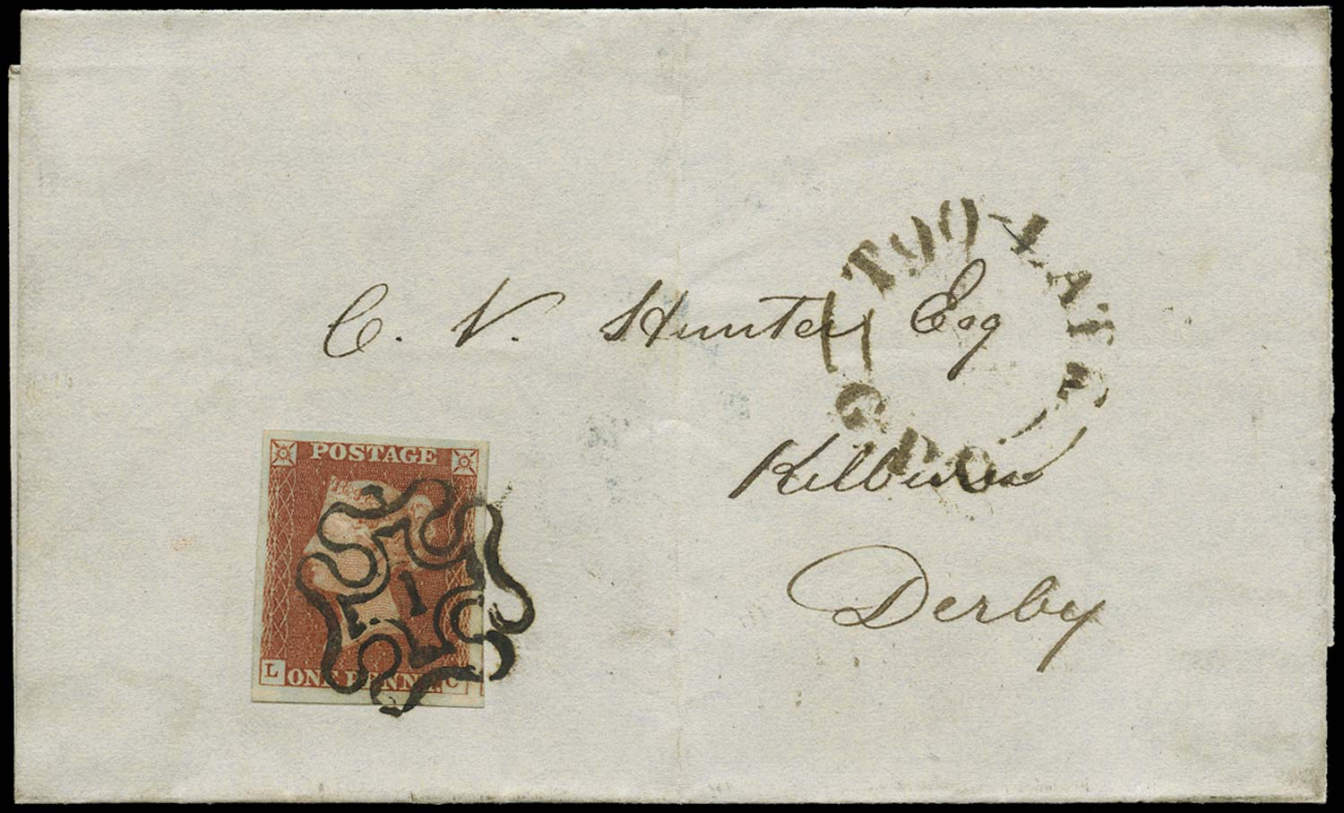 GB 1841  SG8m Pl.34 Cover London No.1 MC to Derby