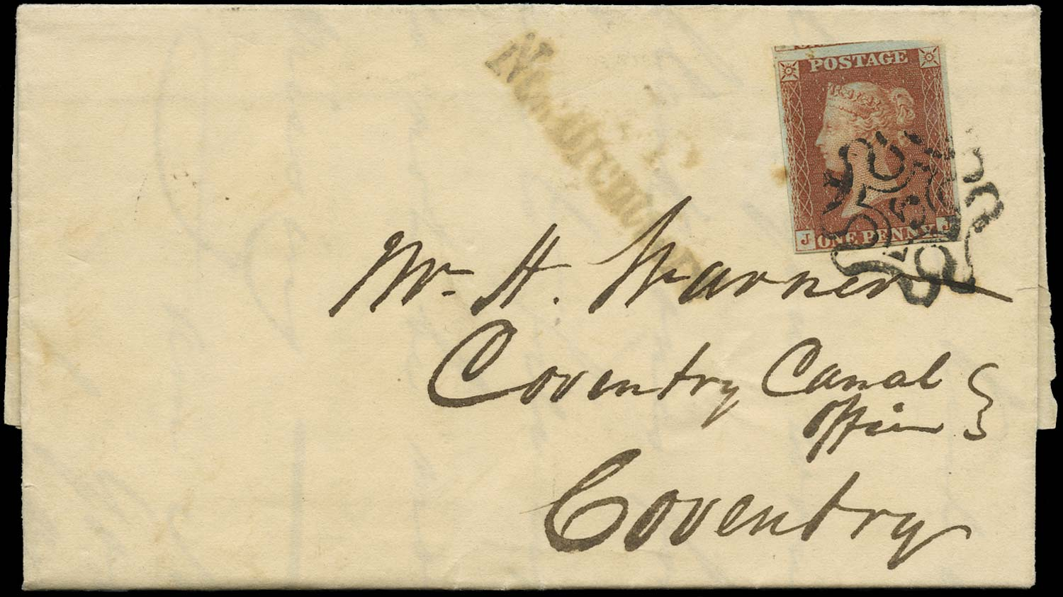 GB 1841  SG8m Pl.36 Cover London No.5 MC to Coventry