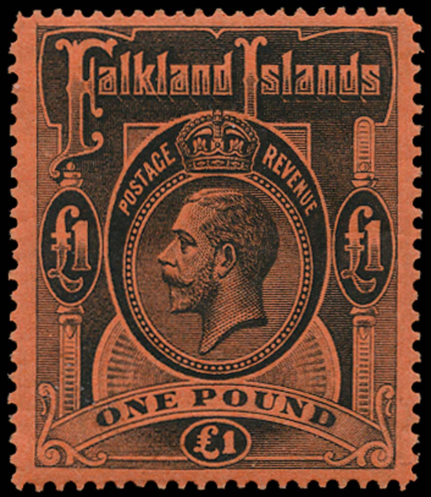 FALKLAND ISLANDS 1912  SG69 Mint £1 black on red