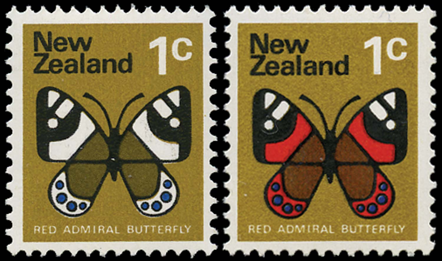 NEW ZEALAND 1973  SG1008b Mint 1c butterfly red omitted