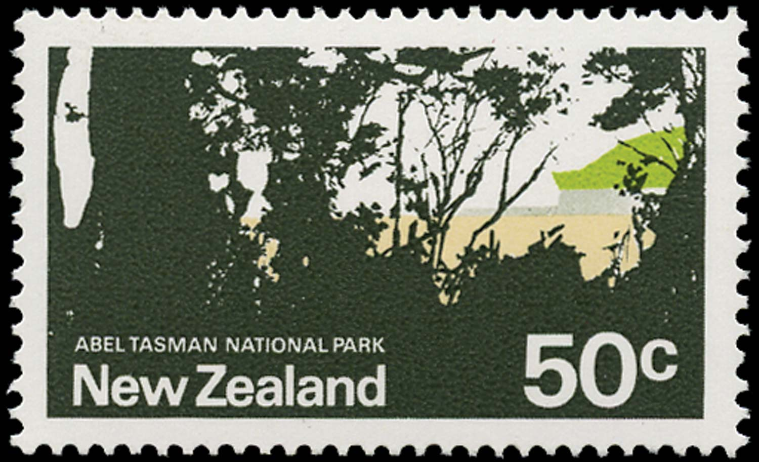 NEW ZEALAND 1970  SG932c Mint 50c dark green omitted