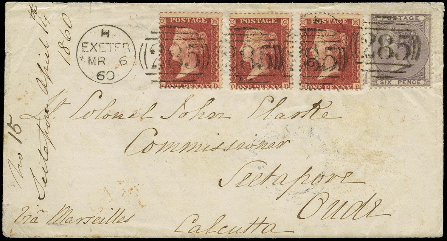 GB 1860  SG40, 68 Cover Whitestone, Exeter to Seetapore, India