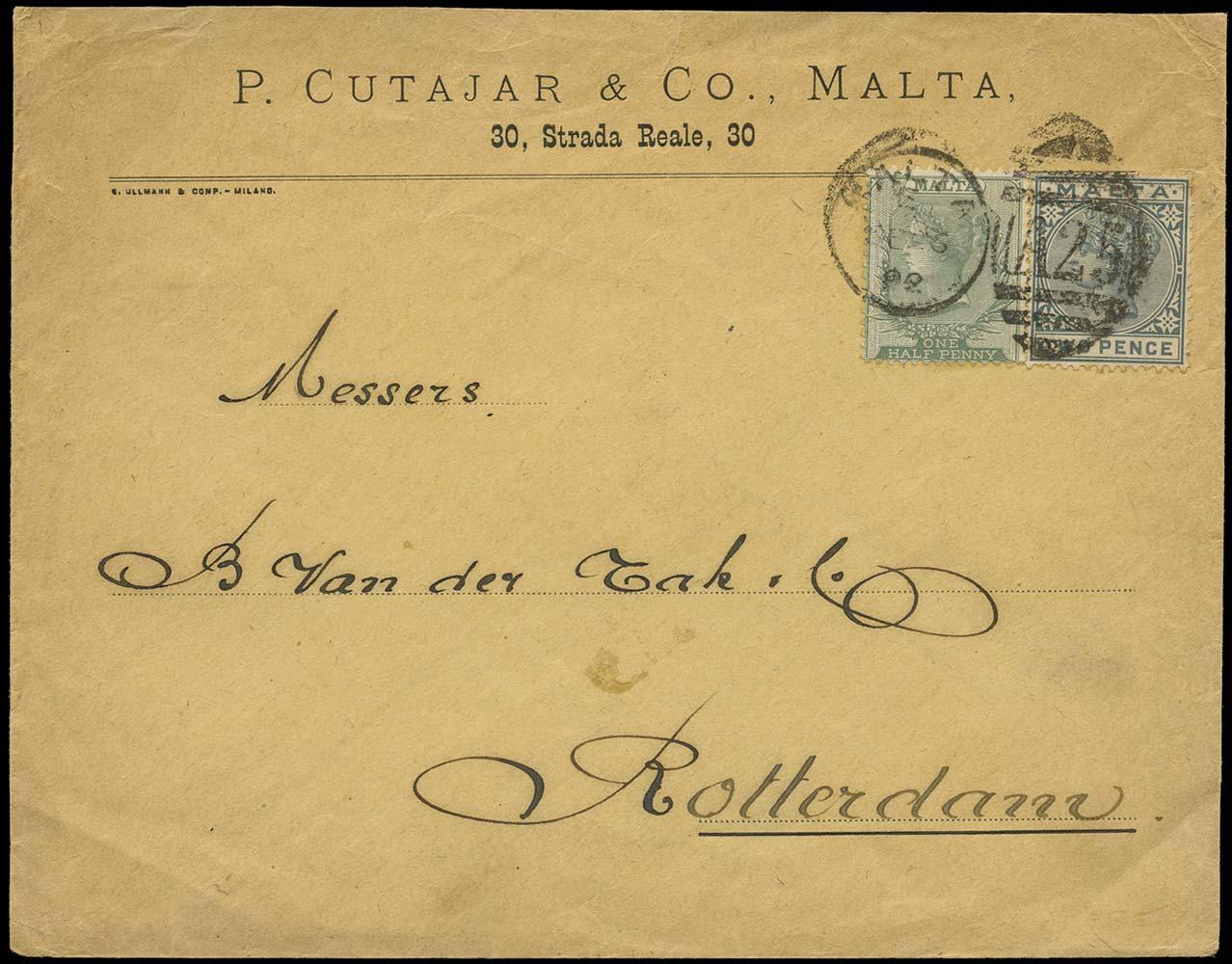 MALTA 1892  SG20, 23 Cover