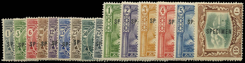 ZANZIBAR 1913  SG246s/60s Specimen