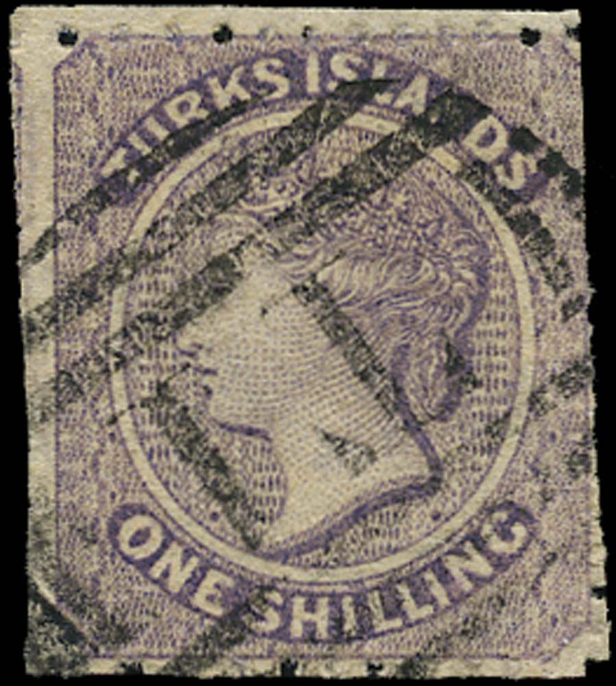 TURKS ISLANDS 1873  SG6 Used 1s lilac watermark small star