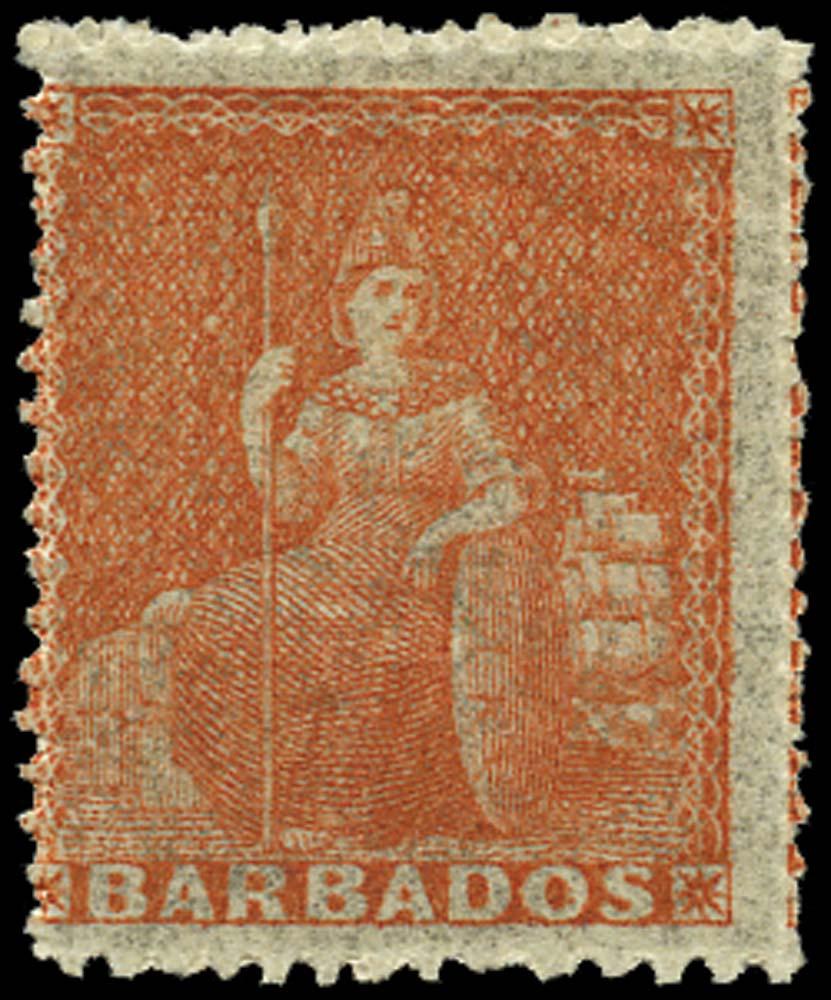 BARBADOS 1861  SG28 Mint (4d) dull vermilion