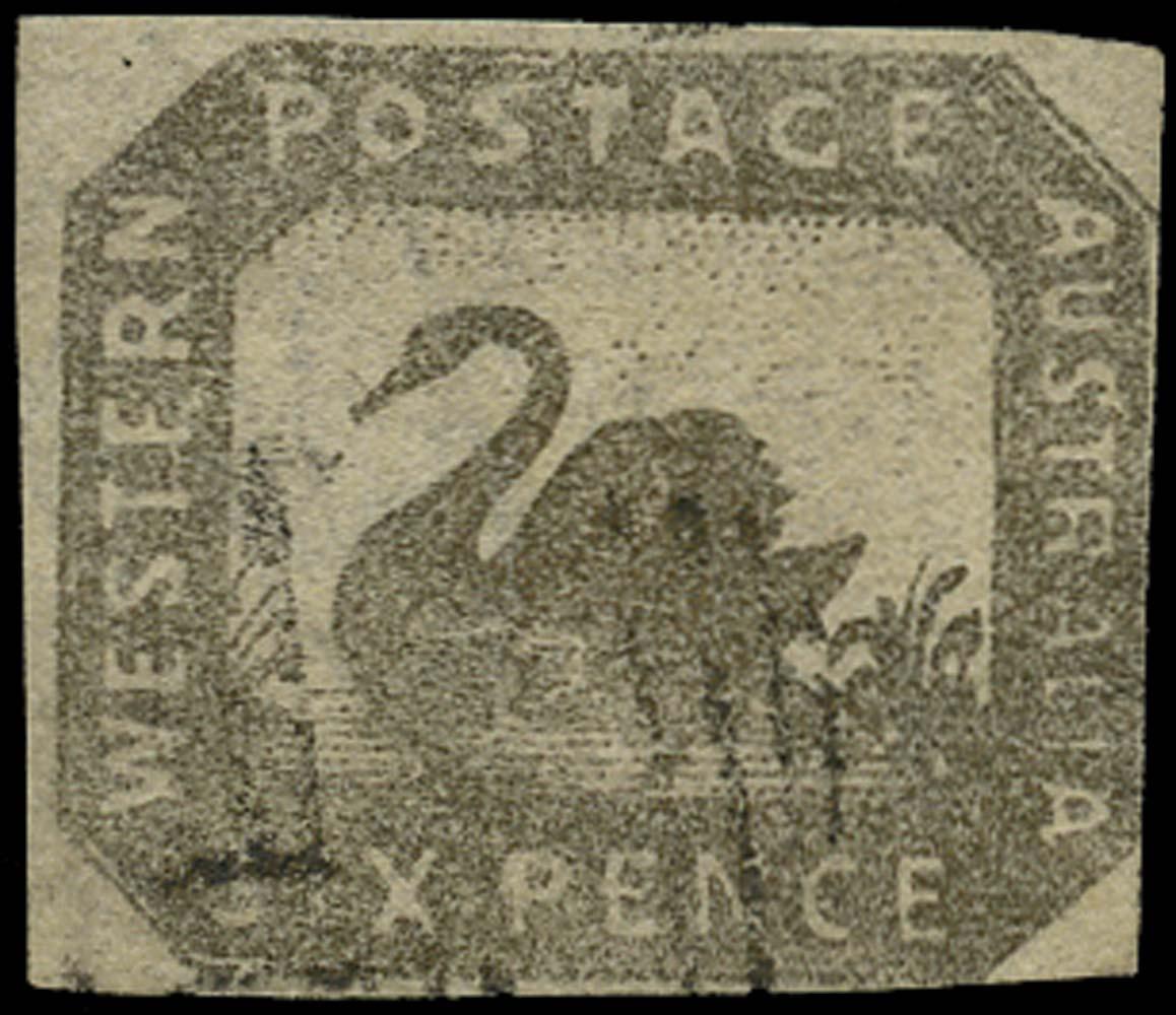 WESTERN AUSTRALIA 1857  SG18 Used 6d black-bronze Swan