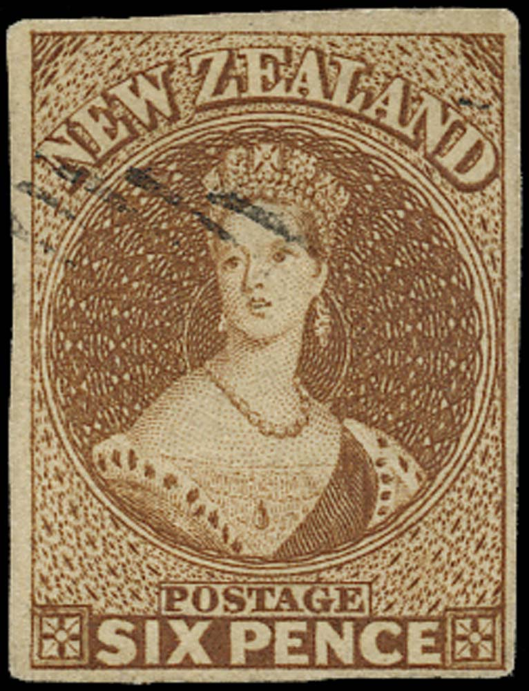 NEW ZEALAND 1857  SG13 Used 6d brown on soft white paper