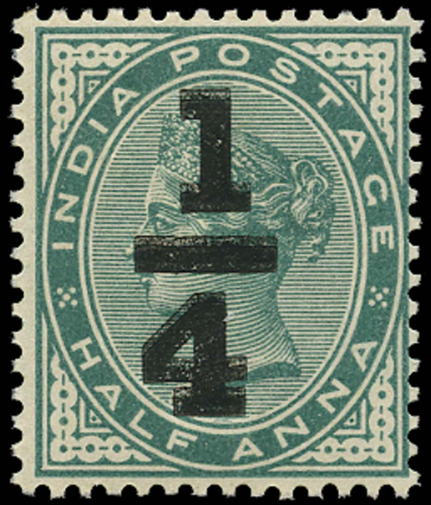 INDIA 1898  SG110a Mint ¼a on ½a blue-green error Surcharge Double