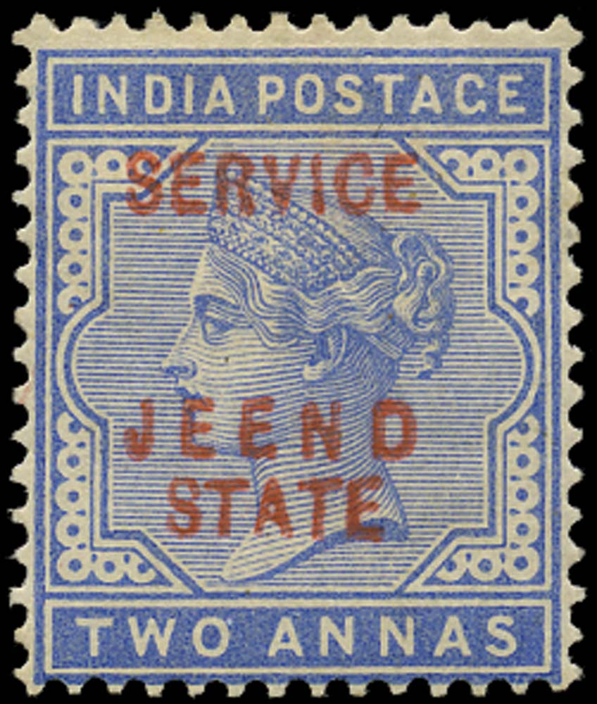 I.C.S. JIND 1885  SGO9 Official 2a dull blue JEEND